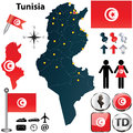 Map of tunisia vector set with detailed country shape with region borders flags and icons Royalty Free Stock Photography