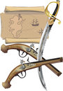 Map, two Pistols, and pirate Sword Royalty Free Stock Photo