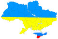 Map of ukraine without the crimea new contour Stock Photo