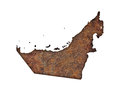 Map of United Arab Emirates on rusty metal