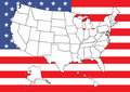 Map of US with flag Royalty Free Stock Photos