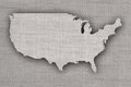 Map of the USA on old linen Royalty Free Stock Photo