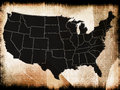Map of usa in the old texture Royalty Free Stock Photo