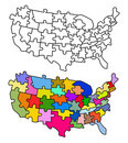 Map USA with states as a puzzle Royalty Free Stock Image