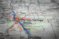 Map View For Travel to Locations and Destinations Colorado Sprin Royalty Free Stock Photo