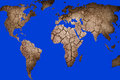 Map of the world dry landscape in shape Stock Photo