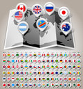 Map world with flags vector illustration eps Stock Images