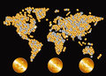 Map of the world in the form of gold and silver coins. Royalty Free Stock Photo
