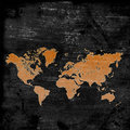 Map of the world on grunge background Stock Image