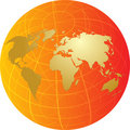 Map of the world illustration on globe grid Royalty Free Stock Photo