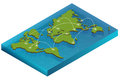Map world isometric concept. 3d flat illustration of Map world. Vector world map connection Political World Map