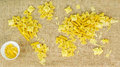 Map of the world made of raw pasta on fabric background Royalty Free Stock Photo