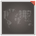 Map world vector paper white black  background Royalty Free Stock Photo