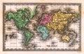 Mapa de mundo 1835 antigo Imagens de Stock
