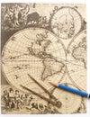 Mapa de mundo antigo, compasso Imagens de Stock