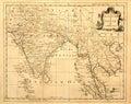 Mapa do vintage de India e de SE Ásia. Imagens de Stock Royalty Free