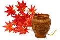 Maple branch wicker vase Royalty Free Stock Images