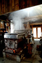 Maple sap boiler an evaporator boils into syrup in this new boston new hampshire house Stock Images