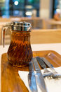 Maple syrup in dispenser prepare for pancakes pancake Royalty Free Stock Image