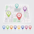 Mapping pins icons travel Royalty Free Stock Photo
