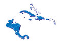 Maps central american region caribbean islands isolated white d projection landmass shown blue Stock Photo