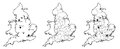 Maps of England with and without counties and major cities Royalty Free Stock Photo