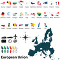 Maps of european union vector political map set with and flags on white background Stock Photo