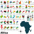 Maps with flags of africa vector political map set and on white background Stock Photography