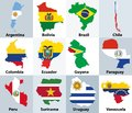 Maps mixed with flags of the independent countries of South America Royalty Free Stock Photo