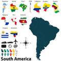Maps of south america vector political map set with and flags on white background Royalty Free Stock Photography