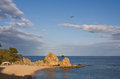 Mar menuda beach in tossa de mar costa brava catalonia spain view to Stock Photo