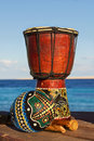 Maraca ethnic drum sea background Stock Photography