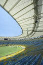 Maracana football stadium seats and pitch empty blue yellow seating at rio de janeiro brazil Royalty Free Stock Photography
