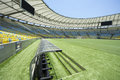 Maracana stadium grandstand view from dugout rio de janeiro brazil january pitch level of football soccer with technical area and Royalty Free Stock Photos
