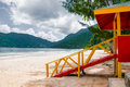 Maracas beach trinidad and tobago lifeguard cabin side view empty beach Royalty Free Stock Photo