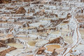 Maras salt mines peruvian andes cuzco peru in the at Stock Images
