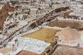 Maras salt mines peruvian andes cuzco peru in the at Stock Photo