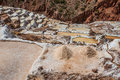 Maras salt mines peruvian andes cuzco peru in the at Royalty Free Stock Image