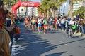 Marathon leading woman the georgina rono amongst the men in the santa pola Stock Photos