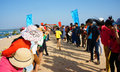 Marathon race cross sand hill binh thuan vietnam feb runner finish in supporter standing in row to encourage this s public sport Royalty Free Stock Images