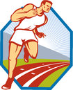 Marathon runner running race track retro illustration of a and field athlete on done in style set inside hexagon Stock Photos