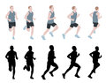 Marathon runner silhouettes and illustration Stock Image