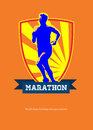 Marathon runner starting run retro poster greeting card illustration showing a running jogging with sunburst done in style with Stock Image