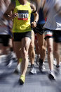 Marathon runners - blurred motion Stock Photography