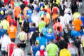 Marathon runners motion blur blurred in paris april Royalty Free Stock Photos