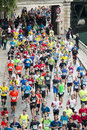 Marathon runners in paris by the riverside april Royalty Free Stock Images