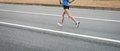 Marathon runners on the road motion blurred Stock Images