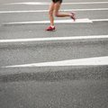 Marathon runners on the road motion blurred Royalty Free Stock Photography
