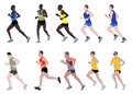 Marathon runners set of illustration Royalty Free Stock Image