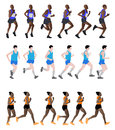 Marathon runners set of illustration Stock Image
